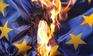 burning EU flag